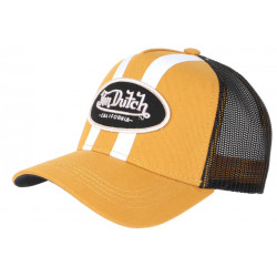 Casquette Von Dutch Jaune et Noire Filet Baseball Fashion Stripe CASQUETTES VON DUTCH