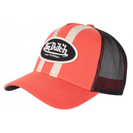 Casquette Von Dutch Orange et Noire Filet Baseball Fashion Stripe CASQUETTES VON DUTCH
