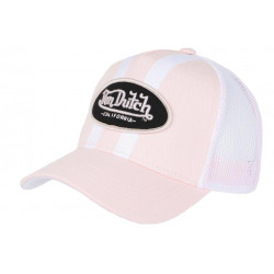Casquette Von Dutch Rose et Blanche Trucker Baseball Fashion Stripe CASQUETTES VON DUTCH