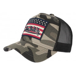 Casquette Von Dutch Militaire Kaki Drapeau USA Trucker Baseball Flag CASQUETTES VON DUTCH