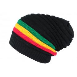 Bonnet Long Noir Look Jamaïque Fashion et Classe en Laine Clify BONNETS Nyls Création