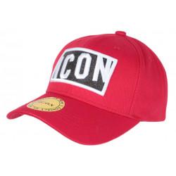 Casquette ICON Rouge avec Strass Noir design Streetwear Baseball Orka CASQUETTES Hip Hop Honour