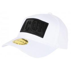 Casquette ICON Blanche avec Strass Noir design Streetwear Baseball Orka CASQUETTES Hip Hop Honour