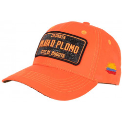 Casquette Plata o Plomo Orange Fluo et Strass Noir Colombia Baseball CASQUETTES SKR