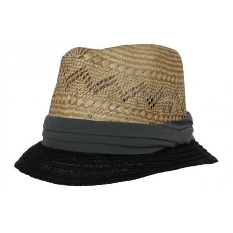 Nyls création chapeau de paille Skin naturel et dégradé de gris