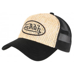 Casquette Von Dutch Paille Beige et Noire Original Custom Baseball Trucker CASQUETTES VON DUTCH