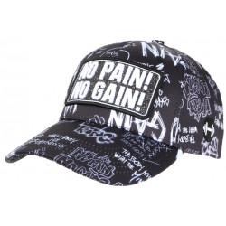 Casquette No Pain No Gain Noire et Grise Streetwear Baseball Fashion CASQUETTES SKR