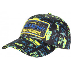 Casquette Make Money Not Friends Noire et Jaune Strass Streetwear Baseball CASQUETTES SKR