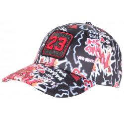Casquette 23 Noire et Rouge Print Streetwear Strass Classe Baseball CASQUETTES SKR