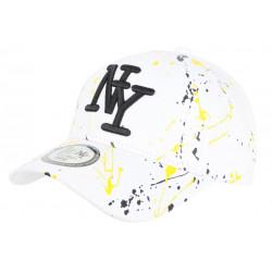 Casquette NY Blanche et Jaune Print Original Fashion Tags Baseball Paynter CASQUETTES Hip Hop Honour
