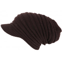 Bonnet Casquette Rasta Marron Chocolat en Laine douce fashion Kift BONNETS Nyls Création