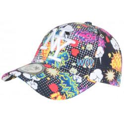 Casquette NY Noire et Rouge Design Pop Art Baseball Bang Boom CASQUETTES Hip Hop Honour