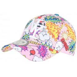 Casquette NY Rose Bonbon Graphisme Pop Art Cartoons Baseball Wow Boom CASQUETTES Hip Hop Honour