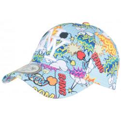 Casquette Enfant Bleue et Jaune Pop Art Dessins Animes Baseball Boum 7 a 11 ans Casquette Enfant Hip Hop Honour