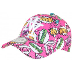 Casquette Enfant Rose Fuchsia Pop Art Design Cartoon Baseball Boum 7 a 11 ans Casquette Enfant Hip Hop Honour