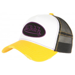 Casquette Von Dutch Jaune et Blanche Originale Filet Noir Baseball Summer CASQUETTES VON DUTCH