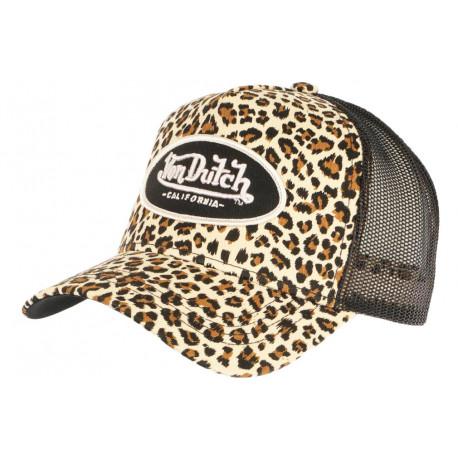 Casquette Von Dutch Leopard Beige et Noire Fashion Trucker Baseball CASQUETTES VON DUTCH