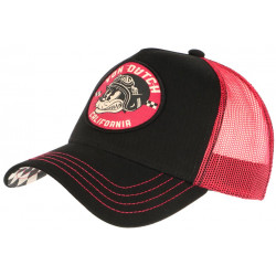 Casquette Von Dutch Rouge et Noire Cat California Baseball Trucker CASQUETTES VON DUTCH