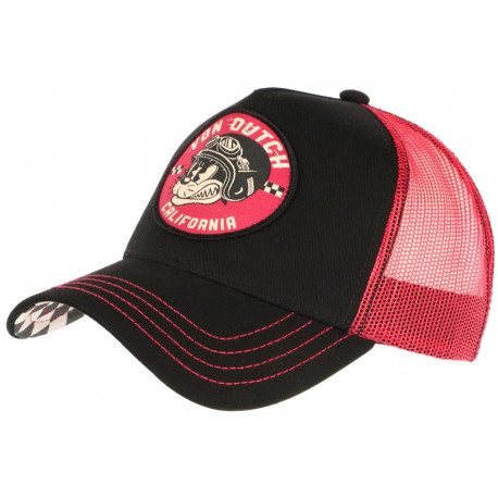 Casquette Von Dutch Rouge et Noire Cat California Baseball Trucker CASQUETTES VON DUTCH