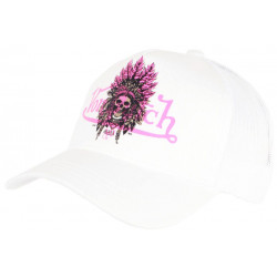 Casquette Von Dutch Blanche et Rose Design Indien Fashion Baseball Ind CASQUETTES VON DUTCH