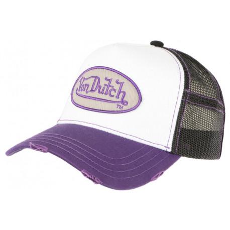 Casquette Von Dutch Violette et Blanche Fashion Trucker Noir Baseball Summer CASQUETTES VON DUTCH