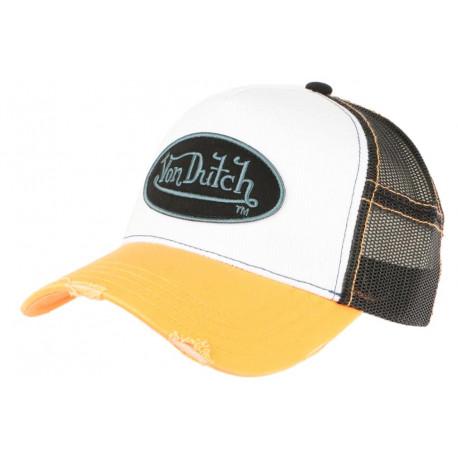 Casquette Von Dutch Orange et Blanche Fashion Trucker Noir Baseball Summer CASQUETTES VON DUTCH
