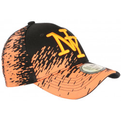 Casquette NY Orange Tags Noirs City Tendance Baseball Noryk CASQUETTES Hip Hop Honour