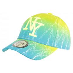 Casquette Enfant Bleue et Jaune Fluo Eclyr Fashion NY Baseball de 7a 12 ans Casquette Enfant Hip Hop Honour