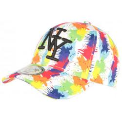 Casquette Enfant Blanche et Orange Streetwear NY Baseball Arlyk de 7 a 11 ans Casquette Enfant Hip Hop Honour