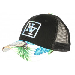 Casquette Trucker NY Bleue et Noire Tropicale Filet Baseball Hawaii CASQUETTES Hip Hop Honour
