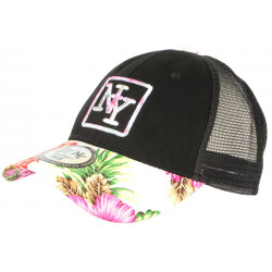 Casquette Trucker NY Rose et Noire Tropicale Filet Baseball Hawaii CASQUETTES Hip Hop Honour