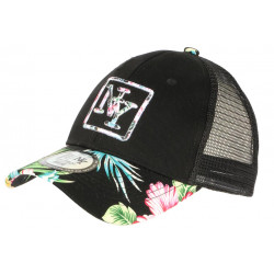 Casquette Trucker NY Noire Design Tropical Filet Baseball Hawaii CASQUETTES Hip Hop Honour