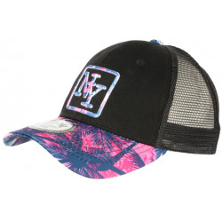 Casquette Trucker NY bleue et Rose Design Tropical Filet Baseball Hawaii CASQUETTES Hip Hop Honour