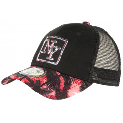 Casquette Trucker NY Rouge et Noire Print Tropical Filet Baseball Hawaii CASQUETTES Hip Hop Honour