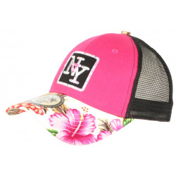 Casquette Trucker NY Rose et Blanche Graphisme Tropical Filet Baseball Hawaii CASQUETTES Hip Hop Honour