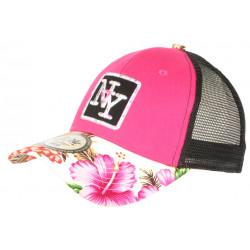 Casquette Enfant Rose et Blanche Florale Filet Trucker NY Baseball Hawaii 7 a 12 ans Casquette Enfant Hip Hop Honour