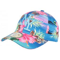 Casquette Enfant Bleue Fleurs Roses Exotiques Baseball NY Hawai de 7 a 12 ans Casquette Enfant Hip Hop Honour
