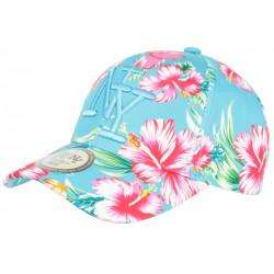 Casquette Enfant Bleu Azur Fleurs tropicales NY Baseball Hawai de 7 a 12 ans Casquette Enfant Hip Hop Honour