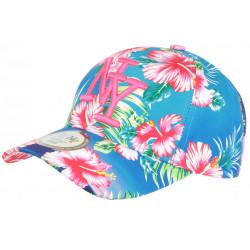 Casquette Enfant Rose et Bleue Fleurs tropicales NY Baseball Hawai de 7 a 12 ans Casquette Enfant Hip Hop Honour