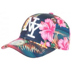 Casquette NY Bleue Marine Fleurs Roses Tropicales Fashion Baseball Hawai CASQUETTES Hip Hop Honour