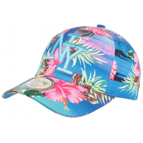 Casquette NY Bleu Ciel Fleurs Roses Tropicales Tendance Baseball Hawai CASQUETTES Hip Hop Honour