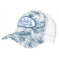 Casquette Von Dutch Blanche et Bleue Design tropical Classe Trucker Baseball Flo CASQUETTES VON DUTCH