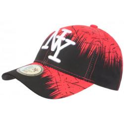 Casquette Enfant Rouge et Noire Visuel Urban Jungle NY Baseball de 7a 12 ans Casquette Enfant Hip Hop Honour