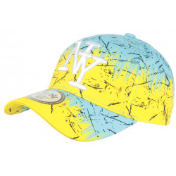 Casquette NY Jaune et Bleue Bad Jungle Style Streetwear Fashion Baseball CASQUETTES Hip Hop Honour