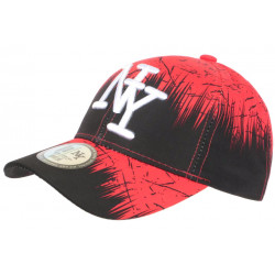 Casquette NY Rouge et Noire Bad Jungle Mode Streetwear Fashion Baseball CASQUETTES Hip Hop Honour