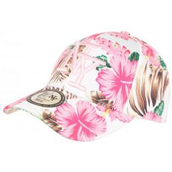 Casquette NY Blanche et Rose Fleurs Tropicale Fashion Baseball Hawai CASQUETTES Hip Hop Honour
