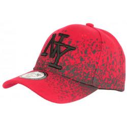 Casquette NY Enfant Rouge et Noire Graphisme Tags Streetwear Wavy 7 a 12 ans Casquette Enfant Hip Hop Honour