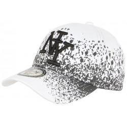 Casquette NY Blanche et Noire Impression Tags Streetwear Baseball Wava CASQUETTES Hip Hop Honour