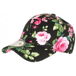 Casquette NY Noire et Rose Fleurs Tropicales Baseball Bora CASQUETTES Hip Hop Honour