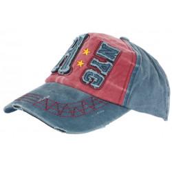 Casquette Baseball Vintage Bleue et Rouge en Coton Griffe NY CASQUETTES Léon montane